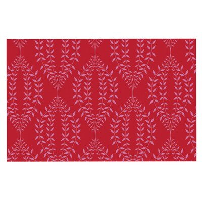 Anneline Sophia Laurel Leaf Floral Doormat Color: Red/Maroon