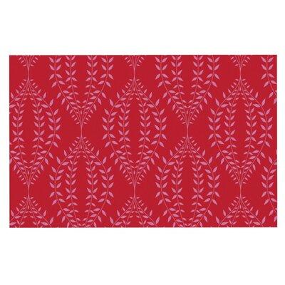 Anneline Sophia Laurel Leaf Floral Doormat Color: Red/Maroon