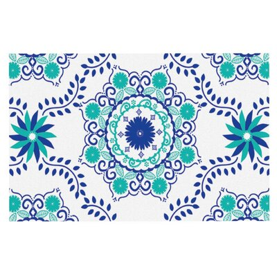 Anneline Sophia Lets Dance Floral Doormat Color: Blue/Teal Aqua