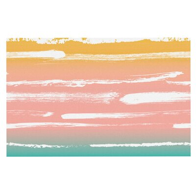 Anneline Sophia Painted Stripes Doormat Color: Pink/Teal