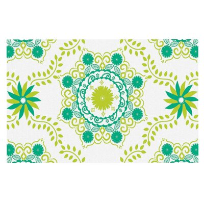 Anneline Sophia Lets Dance Floral Doormat Color: Green/Teal