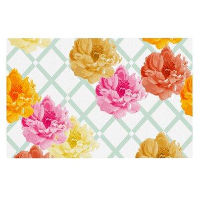 Pellerina Design Trellis Peonies Flowers Doormat