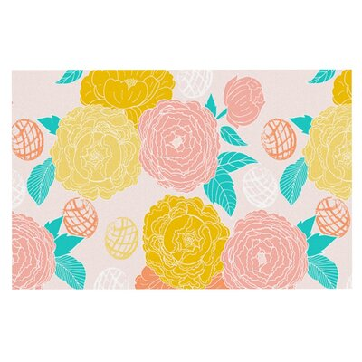 Anneline Sophia Peonies Doormat Color: Yellow/Pink