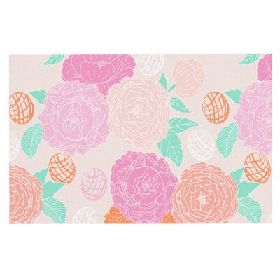 Anneline Sophia Peonies Doormat Color: Peach/Teal