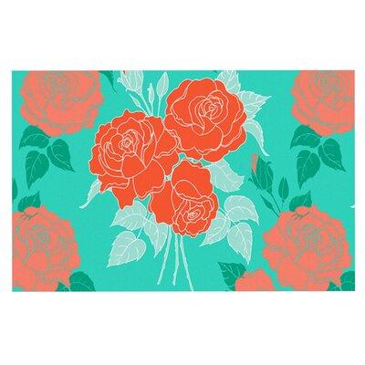 Anneline Sophia Summer Rose Doormat Color: Teal/Green