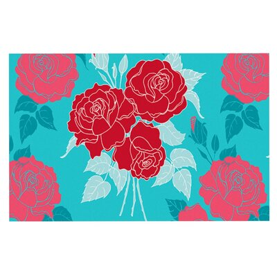 Anneline Sophia Summer Rose Doormat Color: Blue/Aqua