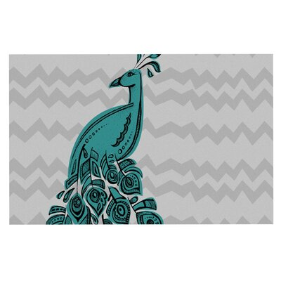 Brienne Jepkema Peacock Decorative Doormat Color: Blue