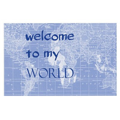 Catherine Holcombe Welcome to my World Quote Decorative Doormat Color: Indigo