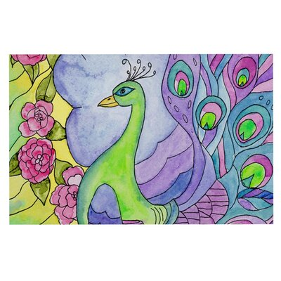 Catherine Holcombe Stained Glass Watercolor Peacock Decorative Doormat