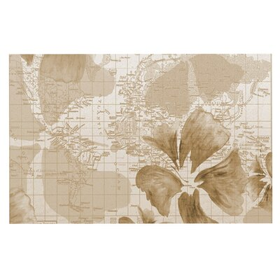 Catherine Holcombe Flower Power Map Decorative Doormat Color: Tan/Brown