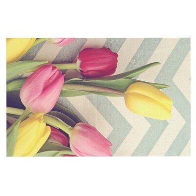 Catherine McDonald Tulips and Chevrons Decorative Doormat