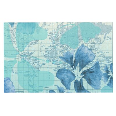 Catherine Holcombe Flower Power Map Decorative Doormat Color: Blue/Aqua