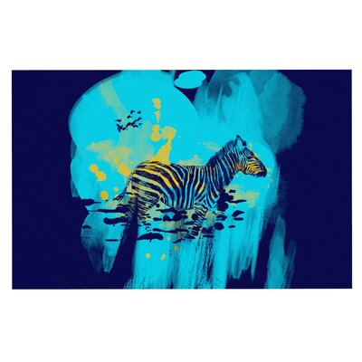 Frederic Levy-Hadida Watercolored Zebra Doormat Color: Blue