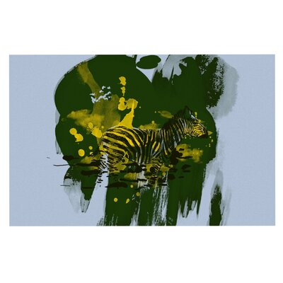 Frederic Levy-Hadida Watercolored Zebra Doormat Color: Green