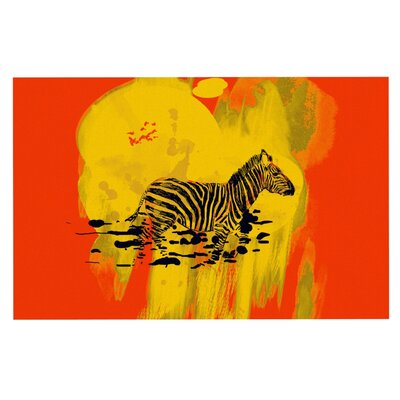 Frederic Levy-Hadida Watercolored Zebra Doormat Color: Red