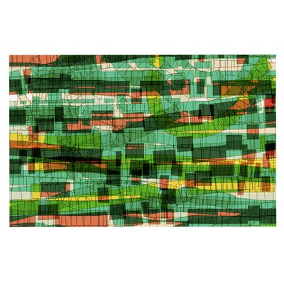 Frederic Levy-Hadida Squares Traffic Doormat Color: Green