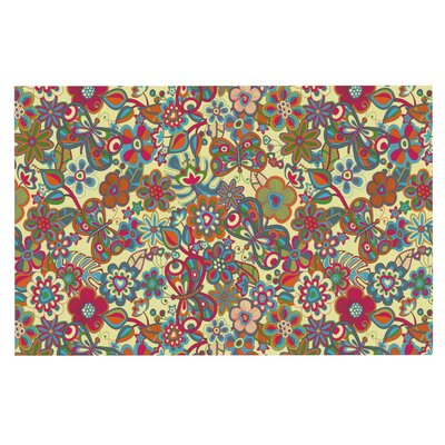 Julia Grifol My Butterflies and Flowers Rainbow Floral Doormat Color: Yellow