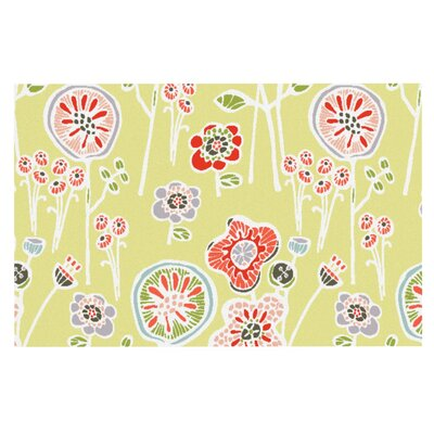 Gill Eggleston Folky Floral Doormat Color: Green/Yellow