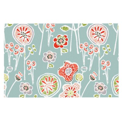 Gill Eggleston Folky Floral Doormat Color: Blue/Teal