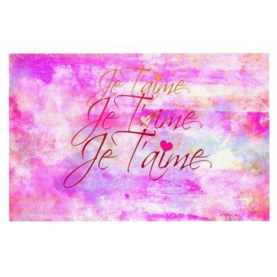 Ebi Emporium Je Taime Pastel Grundge Doormat Color: Pink