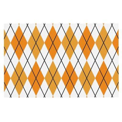 Argyle Doormat Color: Orange/White
