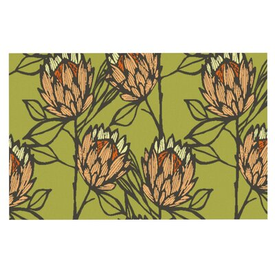 Gill Eggleston Protea Jade Flowers Doormat Color: Green/Orange