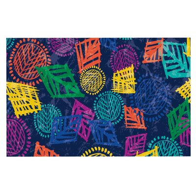 Emine Ortega African Beat Doormat Color: Blue