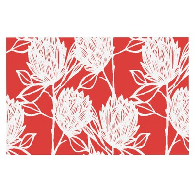 Gill Eggleston Protea Jade Flowers Doormat Color: Red