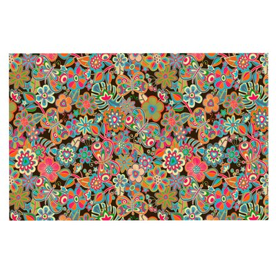 Julia Grifol My Butterflies and Flowers Rainbow Floral Doormat Color: Brown