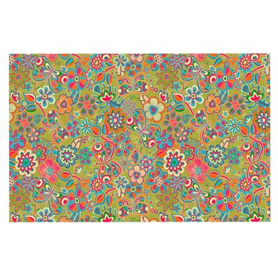 Julia Grifol My Butterflies and Flowers Rainbow Floral Doormat Color: Green