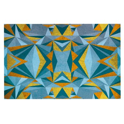 Nika Martinez Abstraction Doormat Color: Gold/Blue