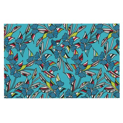 Michelle Drew Paper Leaf Doormat Color: Blue