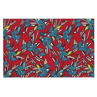 Michelle Drew Paper Leaf Doormat Color: Red