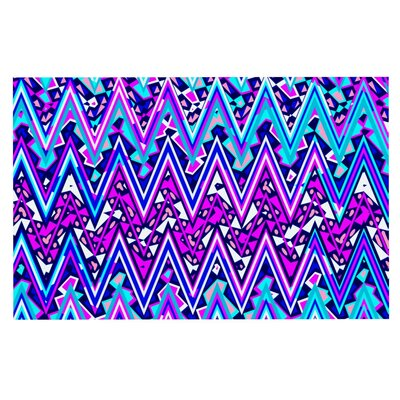 Nika Martinez Electric Chevron Doormat Color: Blue