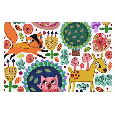 Jane Smith Woodland Critters Colorful Cartoon Doormat
