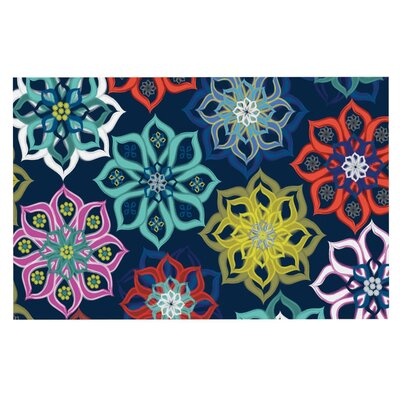 Jolene Heckman Multi Flower Rainbow Flowers Doormat
