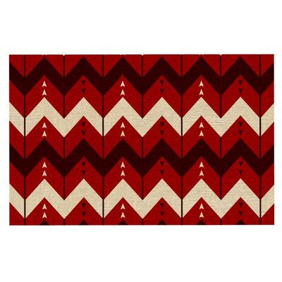 Nick Atkinson 'Chevron Dance' Doormat Color: Red