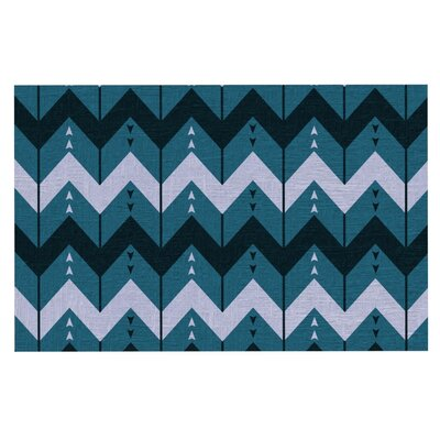 Nick Atkinson 'Chevron Dance' Doormat Color: Blue