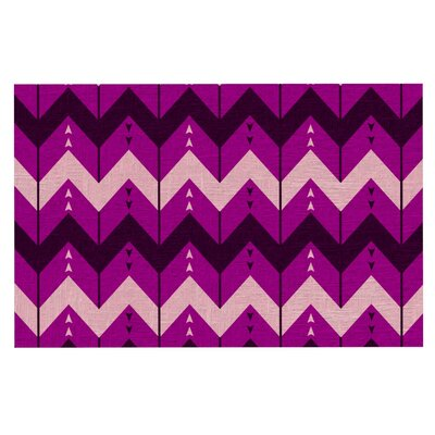 Nick Atkinson 'Chevron Dance' Doormat Color: Purple