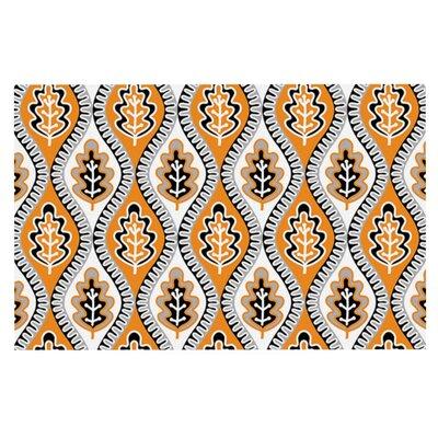 Jacqueline Milton Oak Leaf Floral Doormat Color: Orange