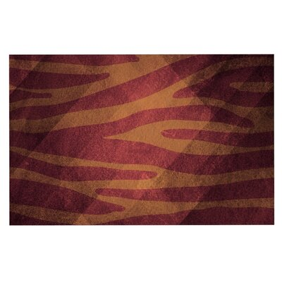 Nick Atkinson 'Zebra Print Texture' Doormat Color: Red