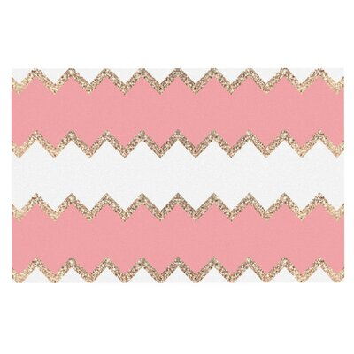Monika Strigel Avalon Soft and Chevron Doormat Color: Coral