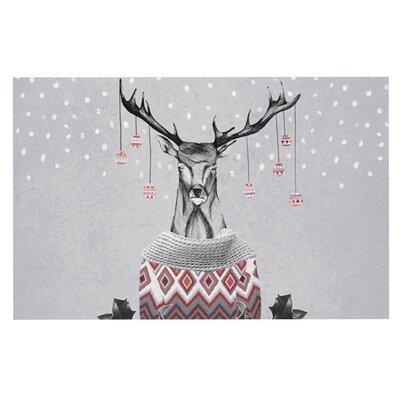 Nika Martinez Christmas Deer Snow Holiday Doormat