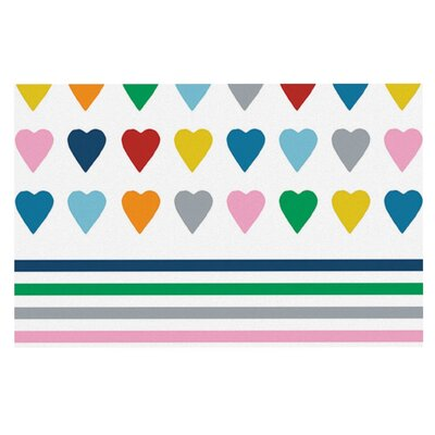 Project M Heart Stripes Rainbow Shapes Doormat Color: Rainbow