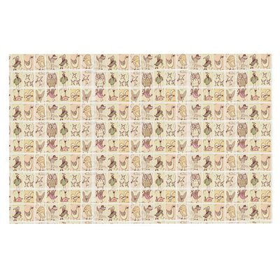 Marianna Tankelevich Cute Birds Doormat Color: Tan Grid