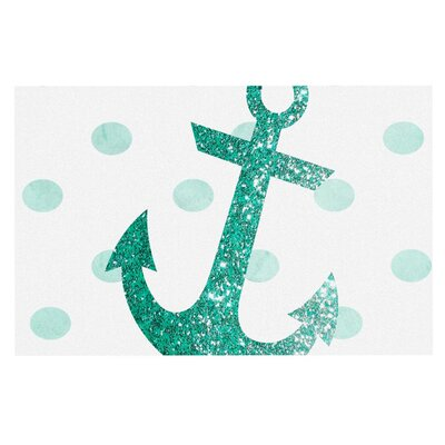 Nika Martinez Glitter Anchor Doormat Color: Mint
