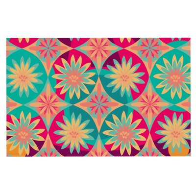 Nika Martinez Happy Flowers Floral Abstract Doormat