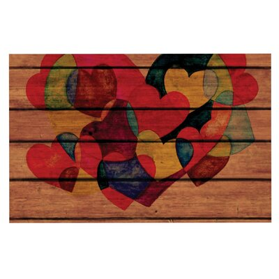 Louise Machado Wooden Heart Doormat