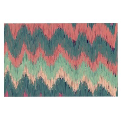 Nika Martinez Ikat Chevron Doormat Color: Green