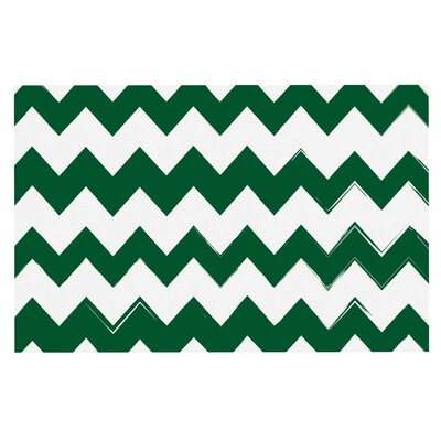 Candy Cane Chevron Doormat Color: Green